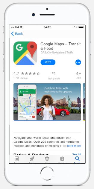 Google Maps app page